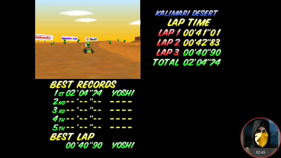 omargeddon: Mario Kart 64: Kalimari Desert [Time Trial] (N64 Emulated) 0:02:04.74 points on 2018-02-16 22:37:57