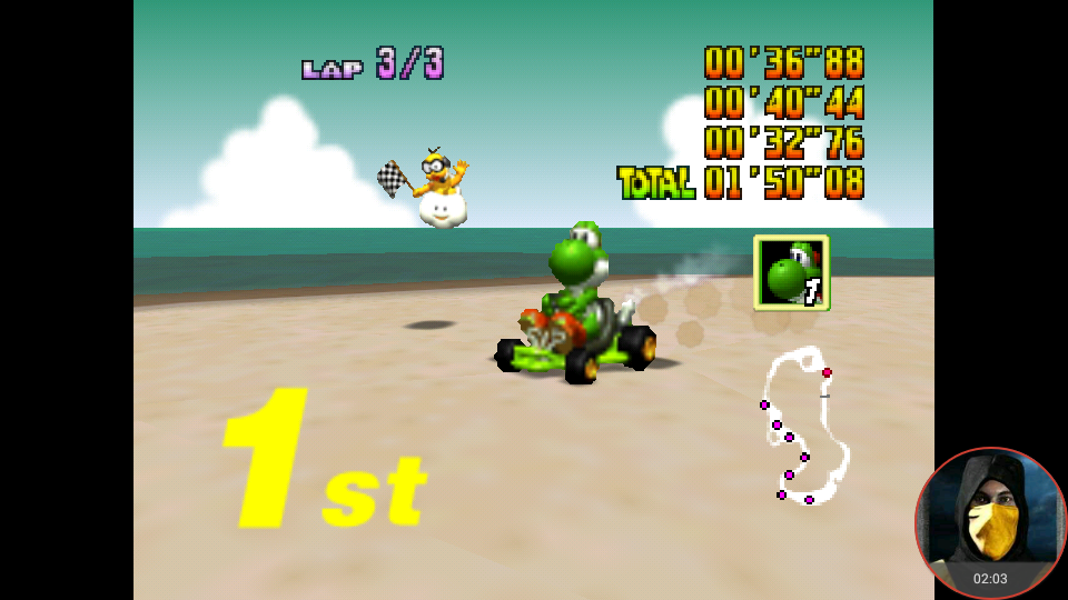 omargeddon: Mario Kart 64: Koopa Troopa Beach [100cc] (N64 Emulated) 0:01:50.08 points on 2018-02-03 10:57:01
