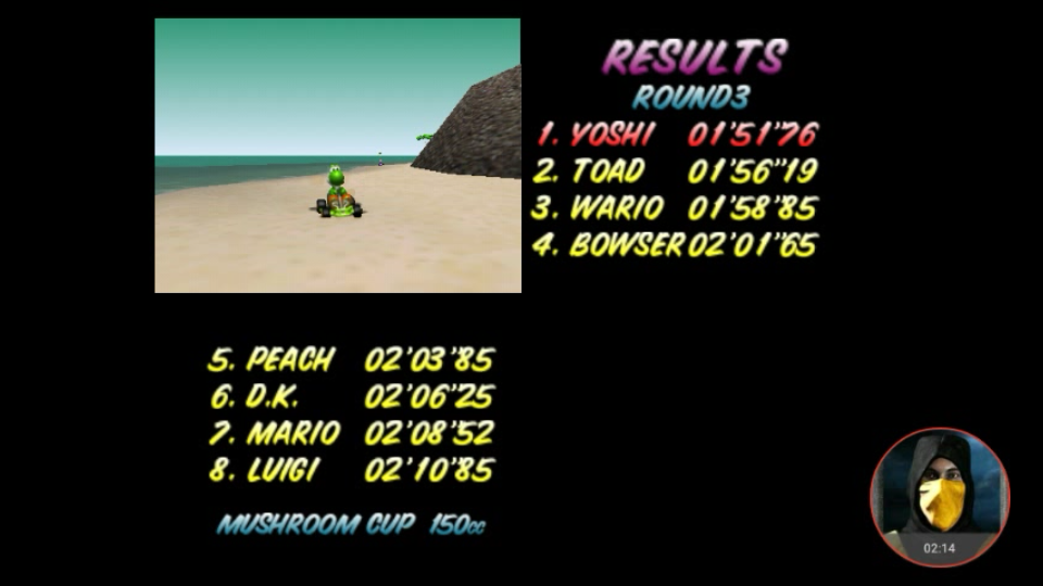 omargeddon: Mario Kart 64: Koopa Troopa Beach [150cc] (N64 Emulated) 0:01:51.76 points on 2018-02-07 10:29:21