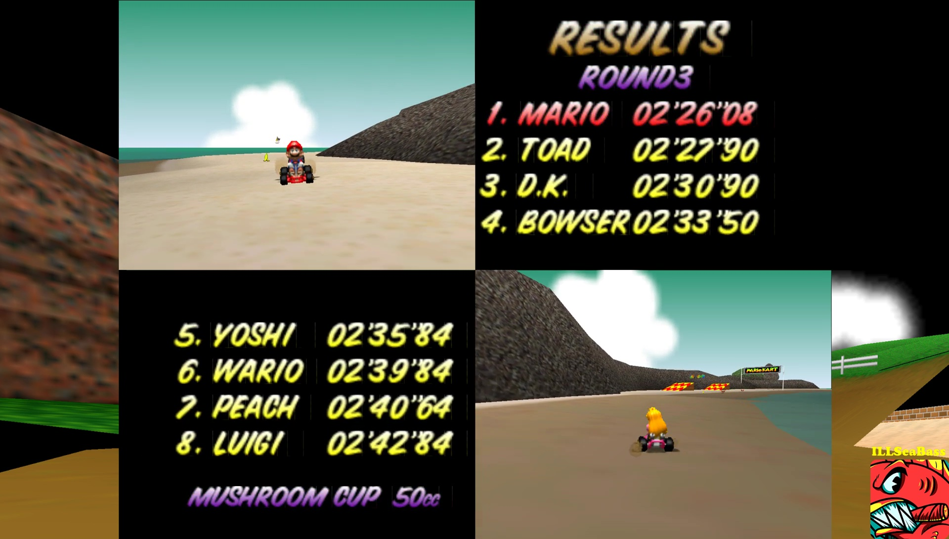 ILLSeaBass: Mario Kart 64: Koopa Troopa Beach [50cc] (N64 Emulated) 0:02:26.08 points on 2017-05-29 12:56:27