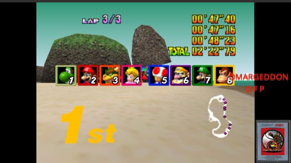 omargeddon: Mario Kart 64: Koopa Troopa Beach [50cc] (N64 Emulated) 0:02:22.79 points on 2017-05-30 00:10:08