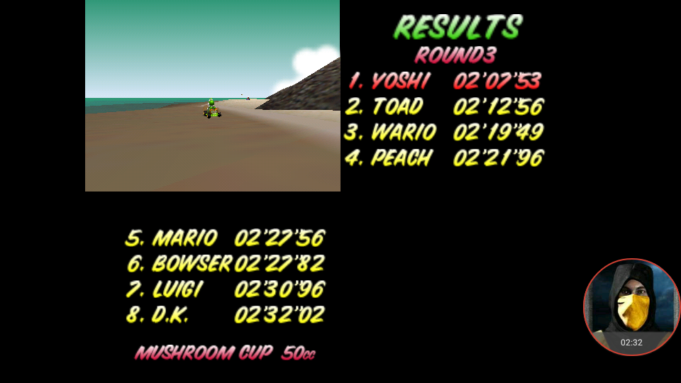 omargeddon: Mario Kart 64: Koopa Troopa Beach [50cc] (N64 Emulated) 0:02:07.53 points on 2018-01-22 21:25:29