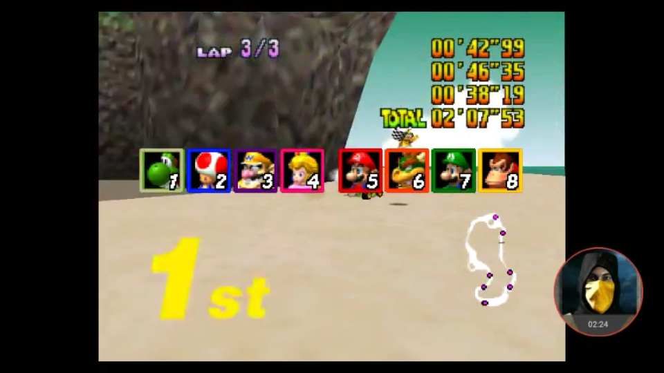 omargeddon: Mario Kart 64: Koopa Troopa Beach [Lap Time] [50cc] (N64 Emulated) 0:00:38.19 points on 2018-01-31 17:27:30