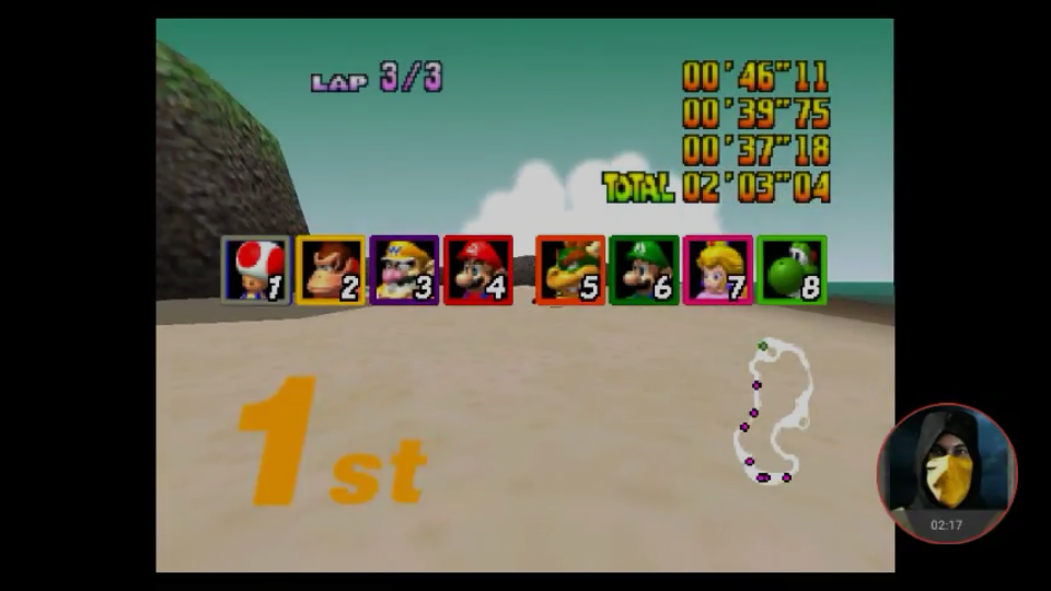 omargeddon: Mario Kart 64: Koopa Troopa Beach [Lap Time] [Extra] (N64 Emulated) 0:00:37.18 points on 2018-02-25 18:46:49