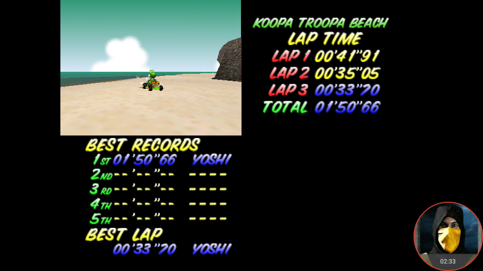 omargeddon: Mario Kart 64: Koopa Troopa Beach [Time Trial] (N64 Emulated) 0:01:50.66 points on 2018-02-16 22:36:23