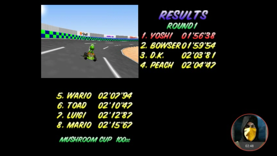 omargeddon: Mario Kart 64: Luigi Raceway [100cc] (N64 Emulated) 0:01:56.38 points on 2018-02-03 00:25:09