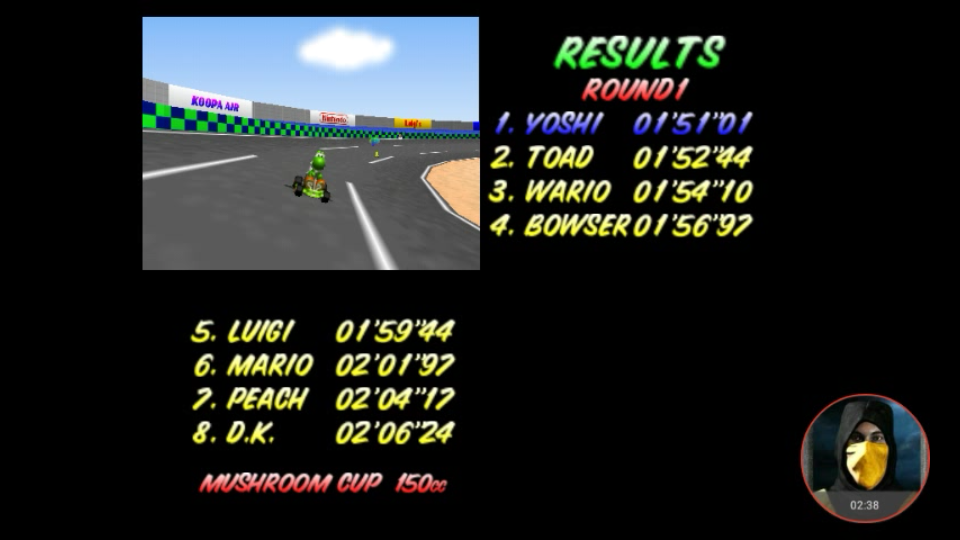 omargeddon: Mario Kart 64: Luigi Raceway [150cc] (N64 Emulated) 0:01:51.01 points on 2018-02-07 10:24:03