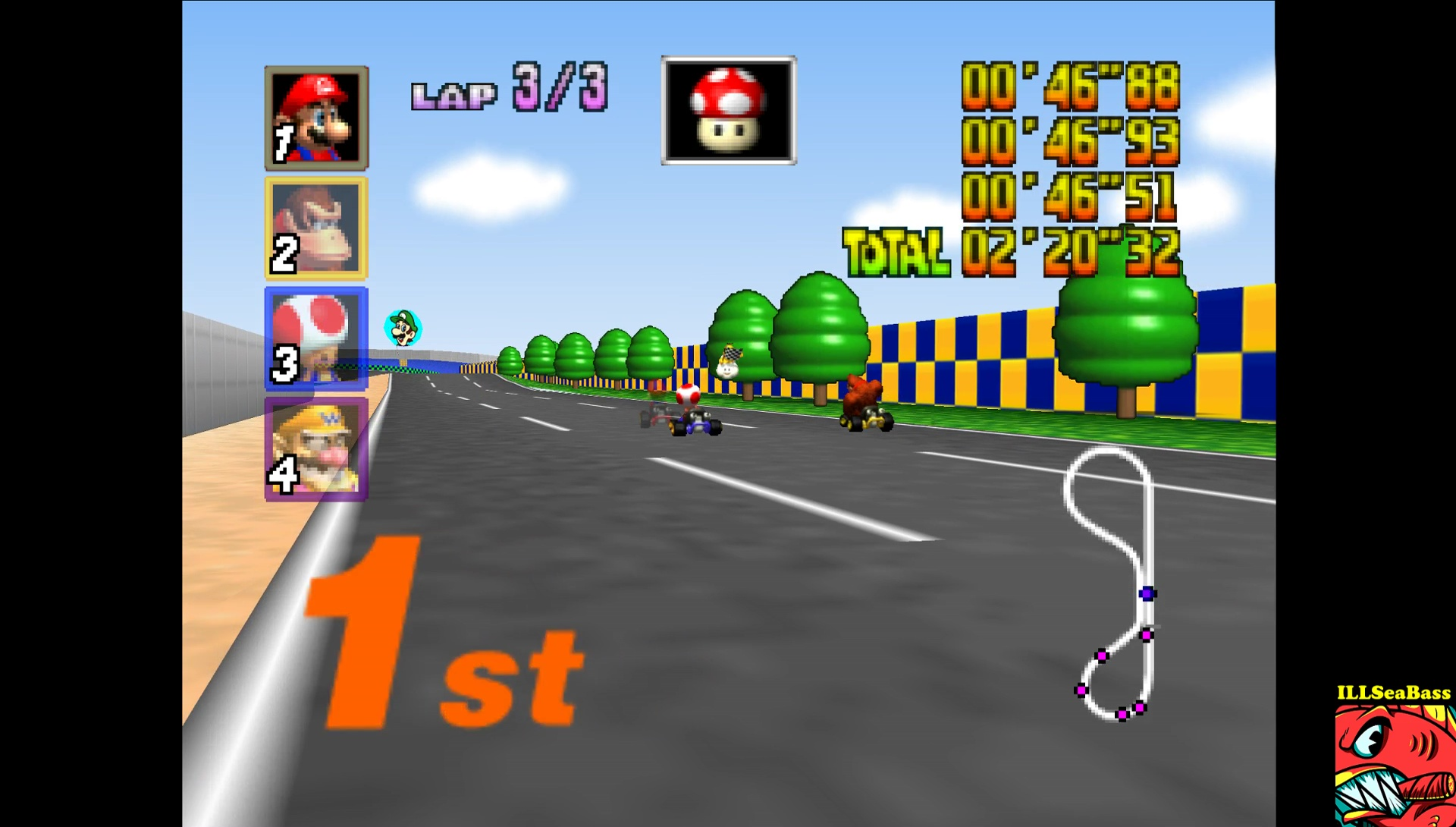 ILLSeaBass: Mario Kart 64: Luigi Raceway [50cc] (N64 Emulated) 0:02:20.32 points on 2017-05-29 12:42:30