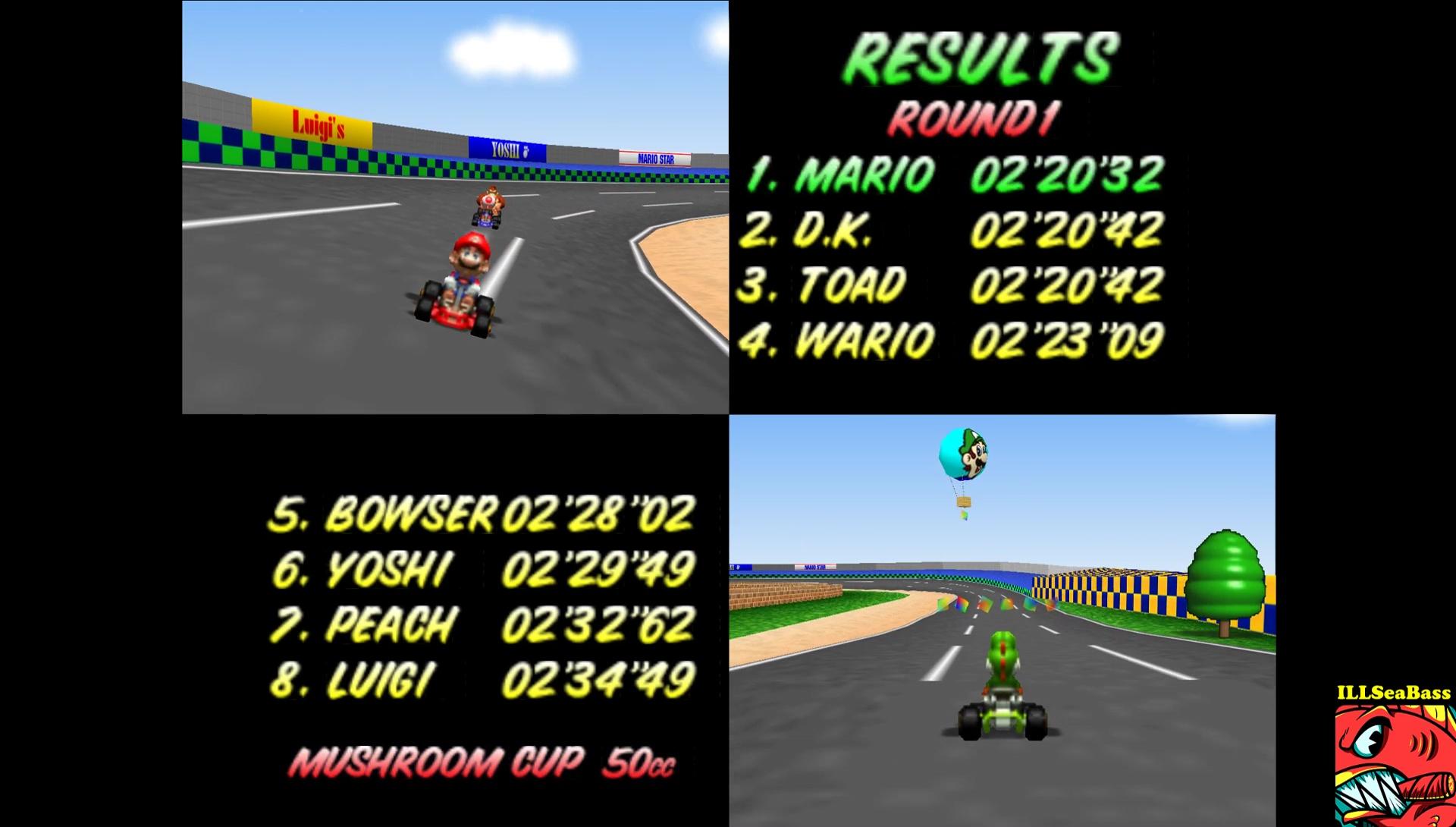 ILLSeaBass: Mario Kart 64: Luigi Raceway [50cc] (N64 Emulated) 0:02:20.32 points on 2017-05-29 12:42:30