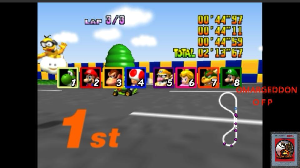omargeddon: Mario Kart 64: Luigi Raceway [50cc] (N64 Emulated) 0:02:13.67 points on 2017-06-12 01:53:09
