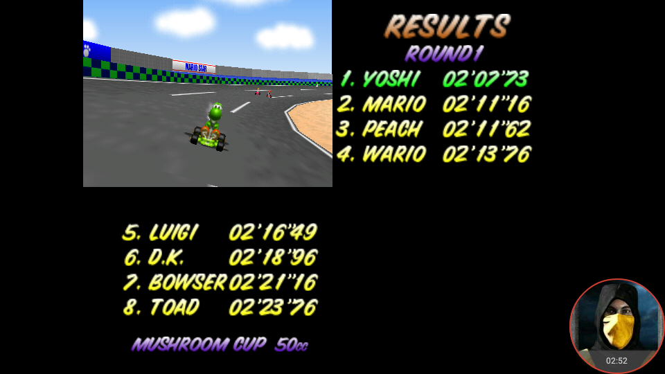 omargeddon: Mario Kart 64: Luigi Raceway [50cc] (N64 Emulated) 0:02:07.73 points on 2018-02-17 12:41:59