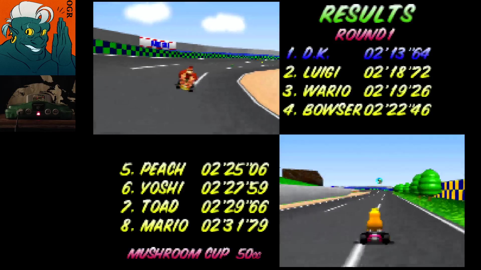 AwesomeOgre: Mario Kart 64: Luigi Raceway [50cc] (N64) 0:02:13.64 points on 2020-03-12 20:10:23