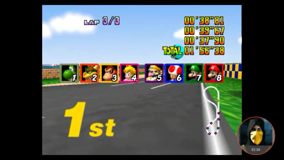 omargeddon: Mario Kart 64: Luigi Raceway [Lap Time] [100cc] (N64 Emulated) 0:00:37.9 points on 2018-02-03 00:24:16