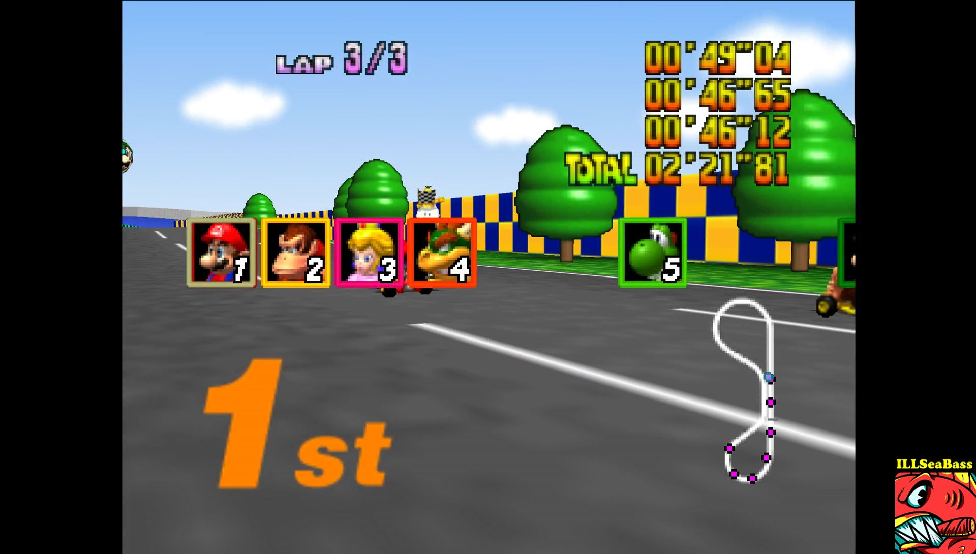 ILLSeaBass: Mario Kart 64: Luigi Raceway [Lap Time] [50cc] (N64 Emulated) 0:00:46.12 points on 2017-05-29 01:23:11