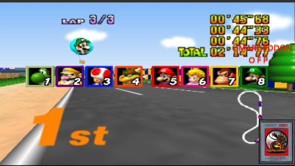 Mario Kart 64: Luigi Raceway [Lap Time] [50cc] time of 0:00:44.33