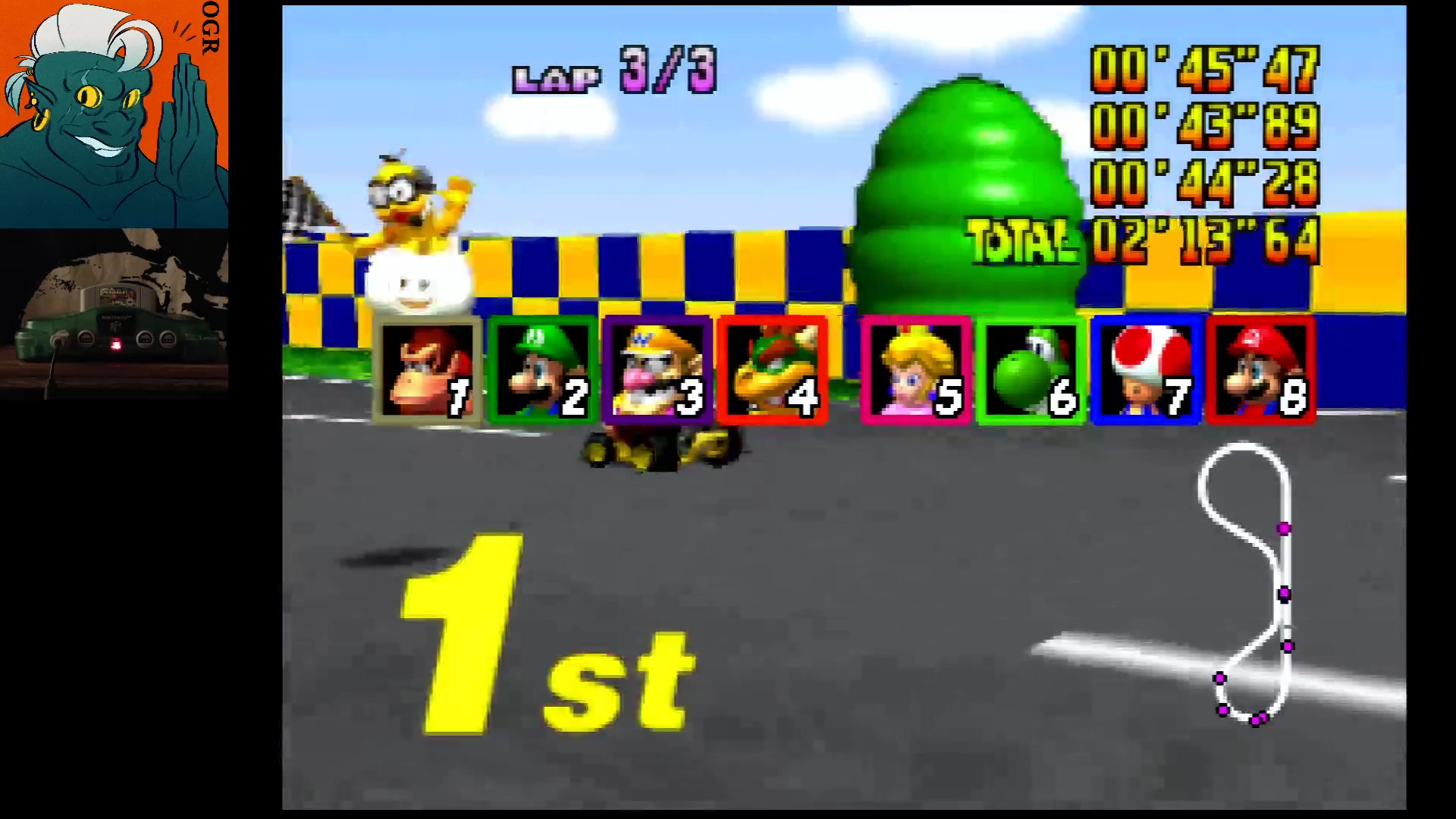 AwesomeOgre: Mario Kart 64: Luigi Raceway [Lap Time] [50cc] (N64) 0:00:43.89 points on 2020-03-12 21:12:26