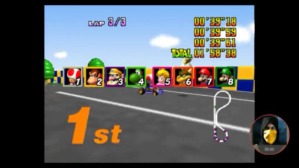 omargeddon: Mario Kart 64: Luigi Raceway [Lap Time] [Extra] (N64 Emulated) 0:00:39.18 points on 2018-02-25 18:44:30