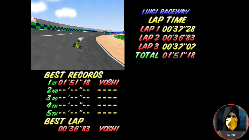 omargeddon: Mario Kart 64: Luigi Raceway [Time Trial] (N64 Emulated) 0:01:51.18 points on 2018-02-16 21:50:05