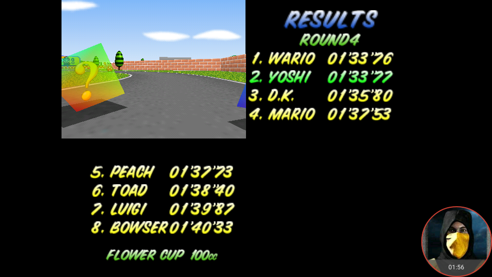 omargeddon: Mario Kart 64: Mario Raceway [100cc] (N64 Emulated) 0:01:33.77 points on 2018-02-03 12:05:47
