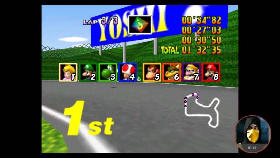 omargeddon: Mario Kart 64: Mario Raceway [150cc] (N64 Emulated) 0:01:32.35 points on 2018-02-10 11:43:41