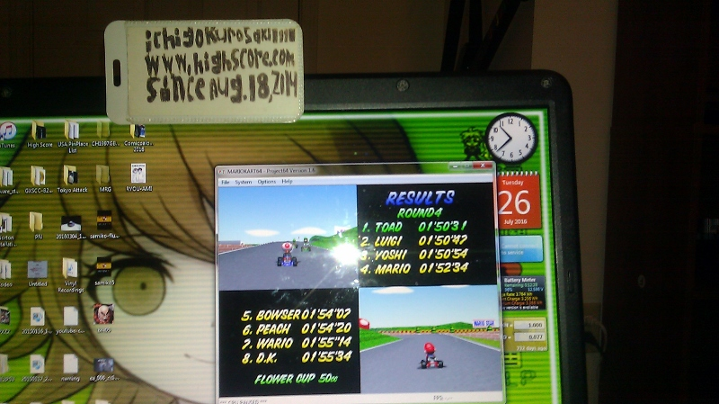 ichigokurosaki1991: Mario Kart 64: Mario Raceway [50cc] (N64 Emulated) 0:01:50.31 points on 2016-07-27 00:28:19