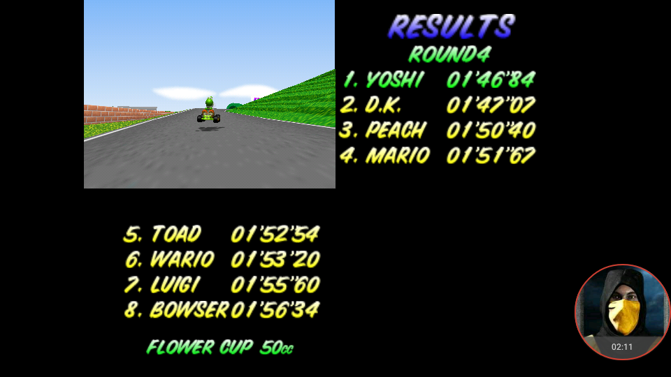 omargeddon: Mario Kart 64: Mario Raceway [50cc] (N64 Emulated) 0:01:46.84 points on 2018-01-25 00:22:52