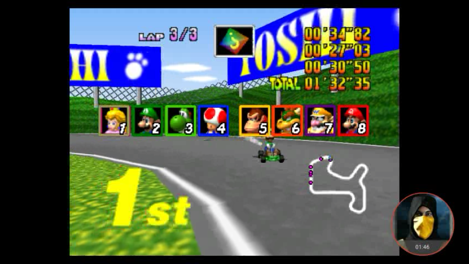 omargeddon: Mario Kart 64: Mario Raceway [Lap Time] [150cc] (N64 Emulated) 0:00:27.03 points on 2018-02-10 11:49:07