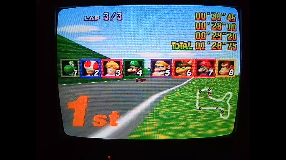 omargeddon: Mario Kart 64: Mario Raceway [Lap Time] [150cc] (N64) 0:00:28.1 points on 2020-04-26 16:32:34