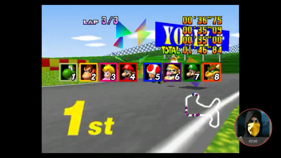 omargeddon: Mario Kart 64: Mario Raceway [Lap Time] [50cc] (N64 Emulated) 0:00:35 points on 2018-02-25 19:18:26