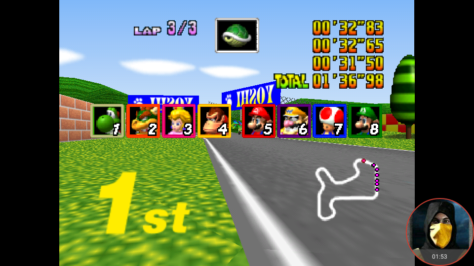 omargeddon: Mario Kart 64: Mario Raceway [Lap Time] [Extra] (N64 Emulated) 0:00:31.5 points on 2018-05-15 12:02:14