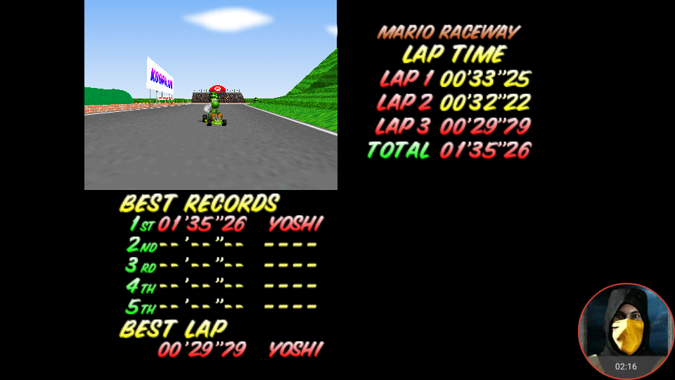 omargeddon: Mario Kart 64: Mario Raceway [Time Trial] (N64 Emulated) 0:01:35.26 points on 2018-02-22 12:46:15