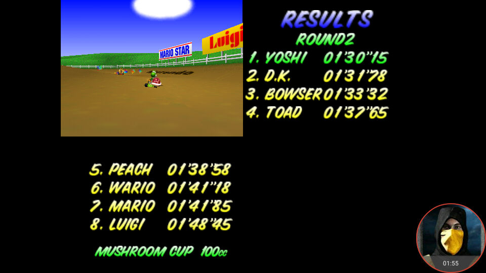 omargeddon: Mario Kart 64: Moo Moo Farm [100cc] (N64 Emulated) 0:01:30.15 points on 2018-02-03 10:53:24