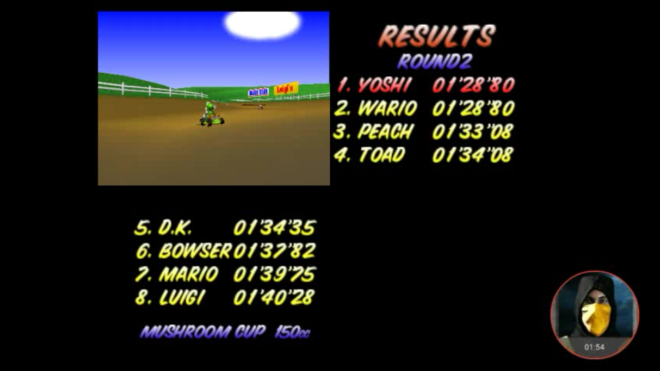 omargeddon: Mario Kart 64: Moo Moo Farm [150cc] (N64 Emulated) 0:01:28.8 points on 2018-02-07 10:27:55