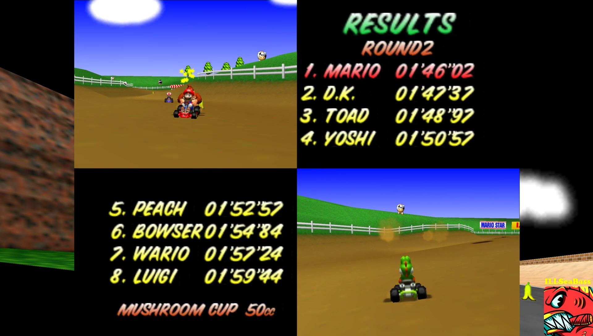 ILLSeaBass: Mario Kart 64: Moo Moo Farm [50cc] (N64 Emulated) 0:01:46.02 points on 2017-05-29 12:41:01