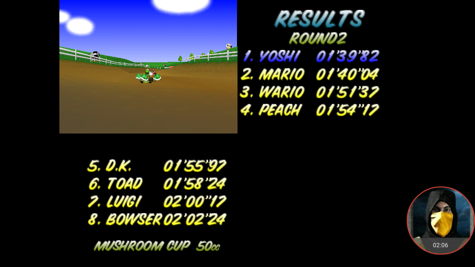 omargeddon: Mario Kart 64: Moo Moo Farm [50cc] (N64 Emulated) 0:01:39.82 points on 2018-01-31 17:43:17