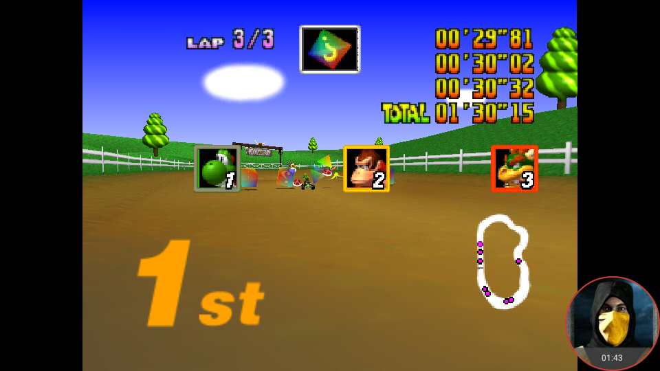 omargeddon: Mario Kart 64: Moo Moo Farm [Lap Time] [100cc] (N64 Emulated) 0:00:29.81 points on 2018-02-03 10:47:18