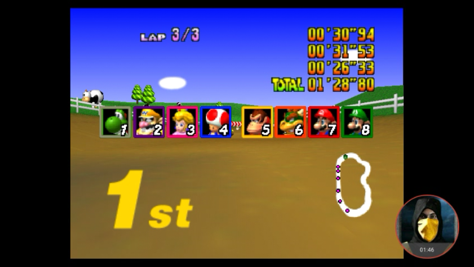 omargeddon: Mario Kart 64: Moo Moo Farm [Lap Time] [150cc] (N64 Emulated) 0:00:26.33 points on 2018-02-07 10:28:32
