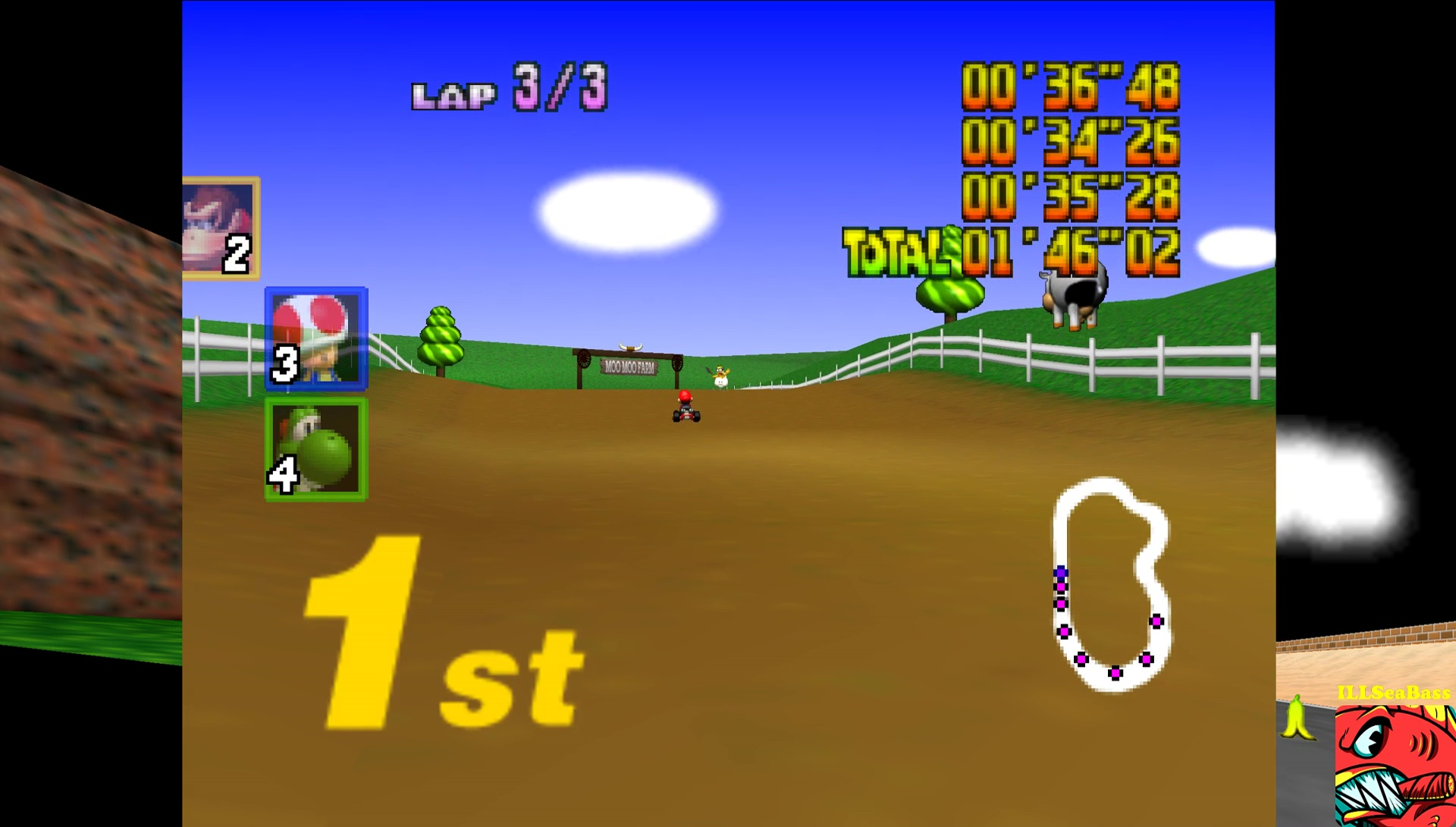 ILLSeaBass: Mario Kart 64: Moo Moo Farm [Lap Time] [50cc] (N64 Emulated) 0:00:34.26 points on 2017-05-29 12:34:05