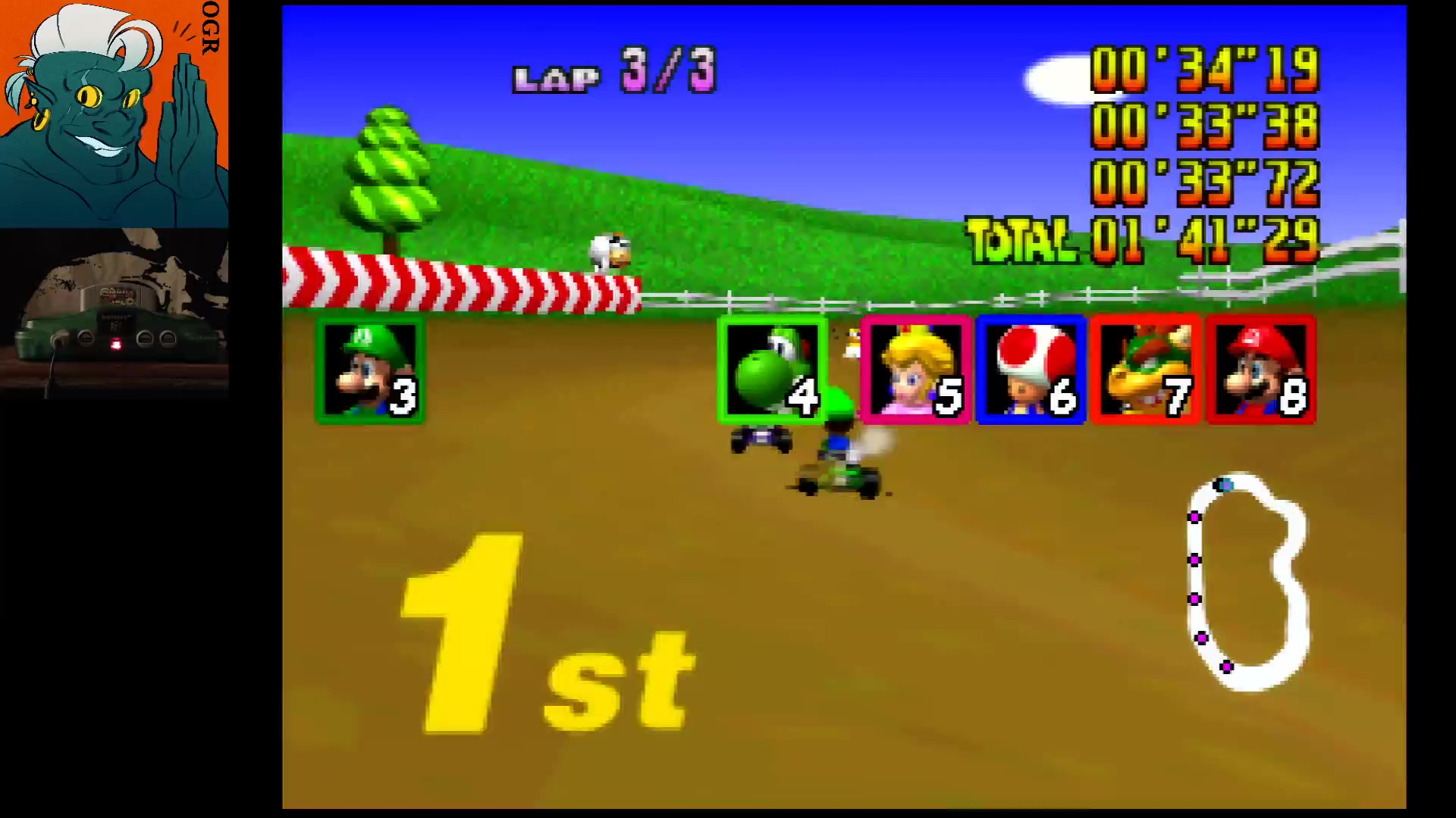 AwesomeOgre: Mario Kart 64: Moo Moo Farm [Lap Time] [50cc] (N64) 0:00:33.38 points on 2020-03-12 21:13:20