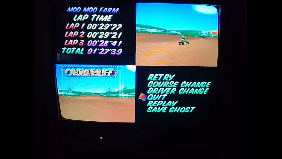 omargeddon: Mario Kart 64: Moo Moo Farm [Time Trial] [Lap Time] (N64) 0:00:28.41 points on 2020-04-22 14:46:14