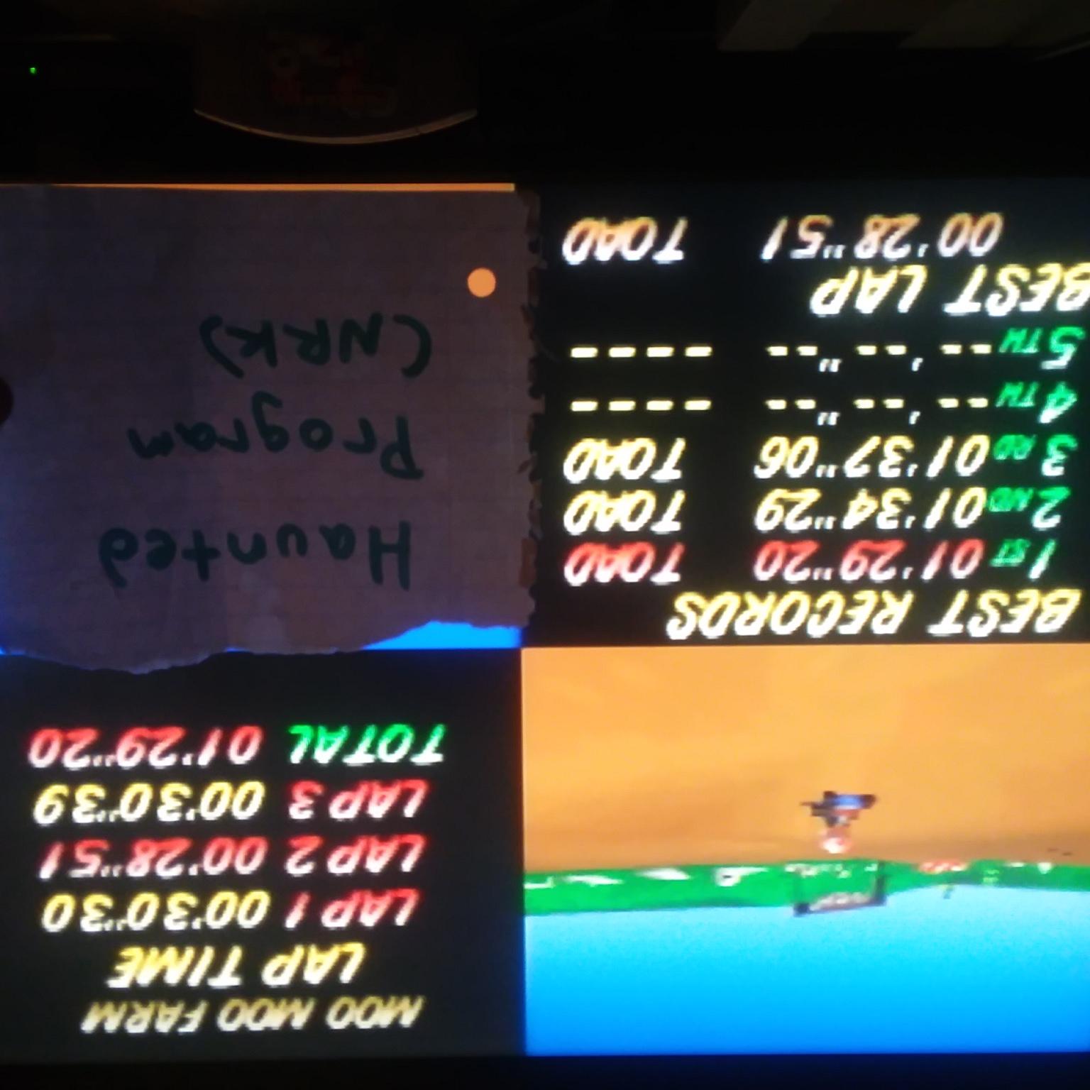 Mario Kart 64: Moo Moo Farm [Time Trial] time of 0:01:29.2