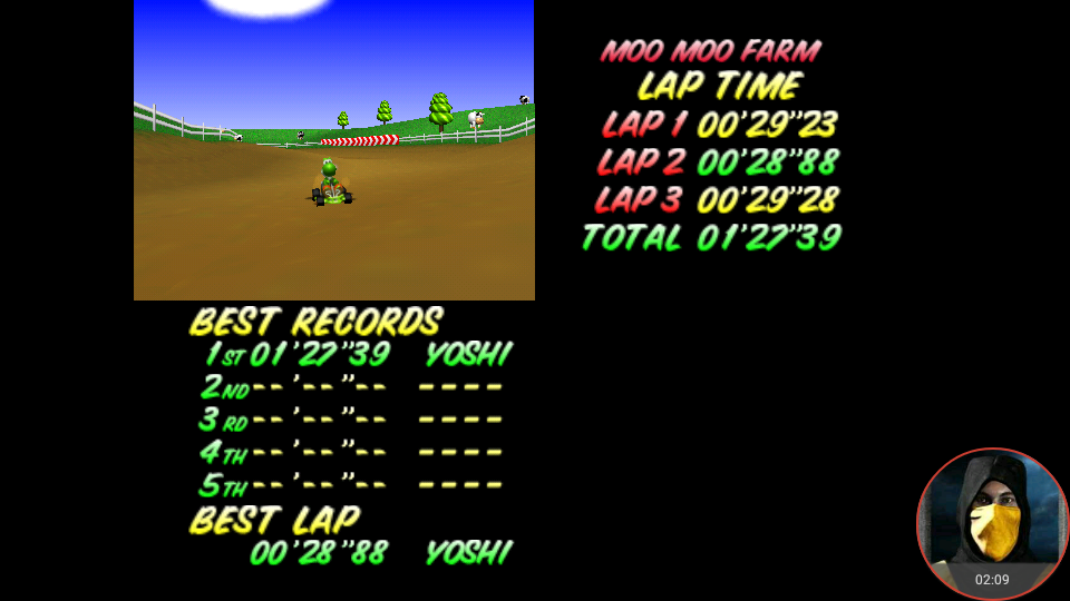 omargeddon: Mario Kart 64: Moo Moo Farm [Time Trial] (N64 Emulated) 0:01:27.39 points on 2018-02-18 10:25:17