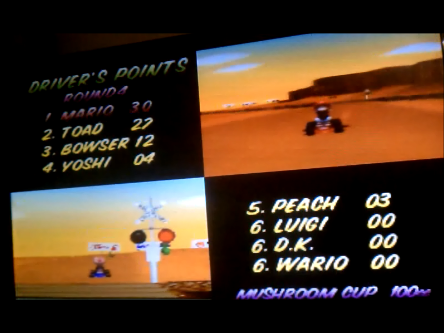 S.BAZ: Mario Kart 64: Mushroom Cup [Points] [100cc] (N64) 30 points on 2016-05-20 01:01:13