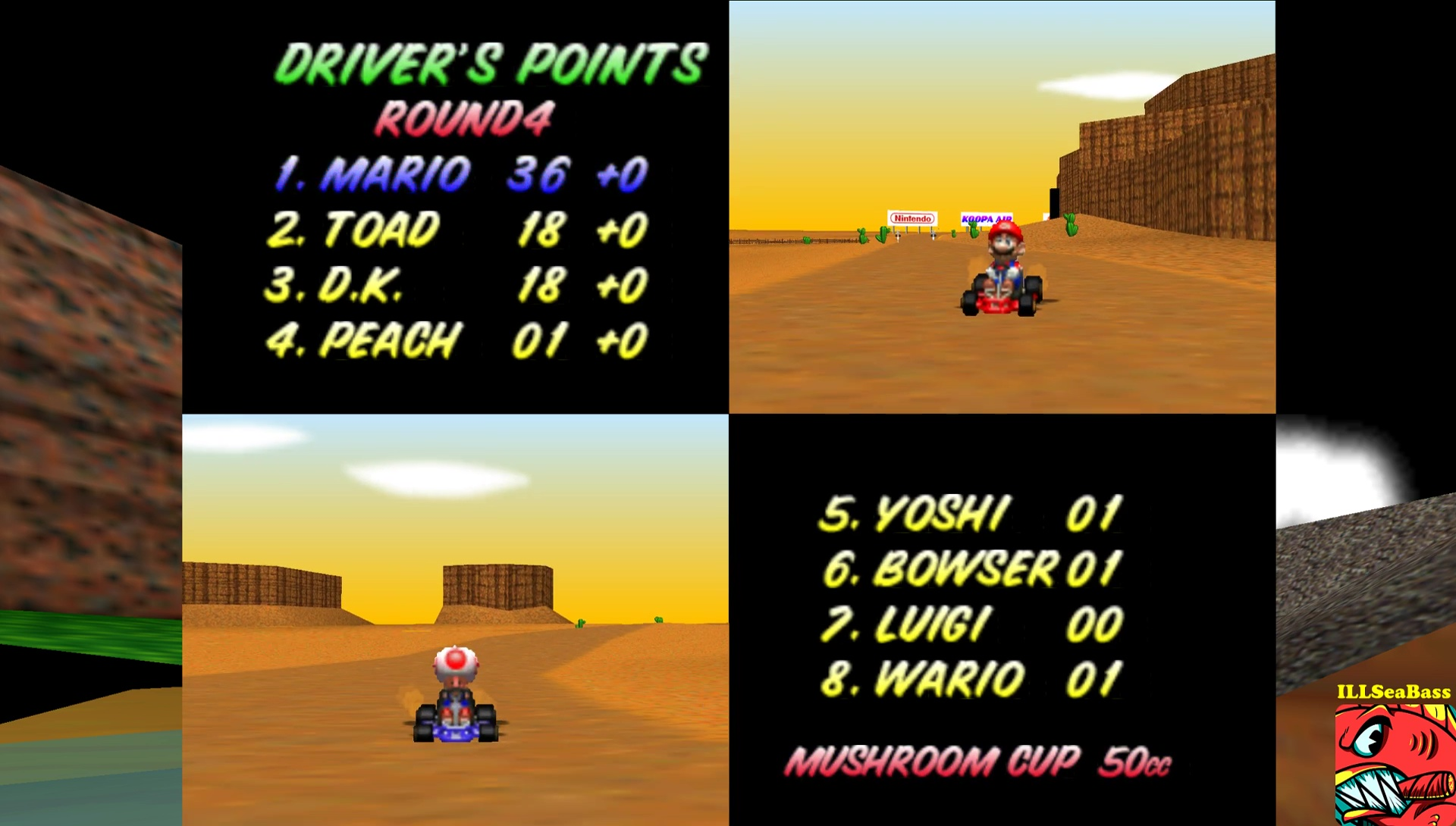 ILLSeaBass: Mario Kart 64: Mushroom Cup [Points] [50cc] (N64 Emulated) 36 points on 2017-05-29 01:50:34
