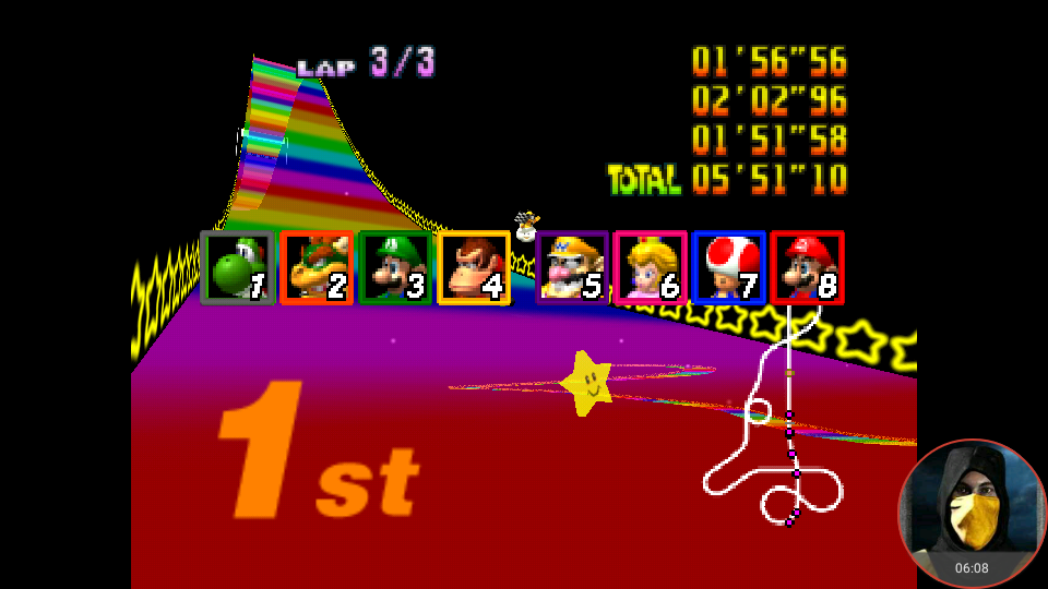 omargeddon: Mario Kart 64: Rainbow Road [100cc] (N64 Emulated) 0:05:51.1 points on 2018-02-05 01:00:53