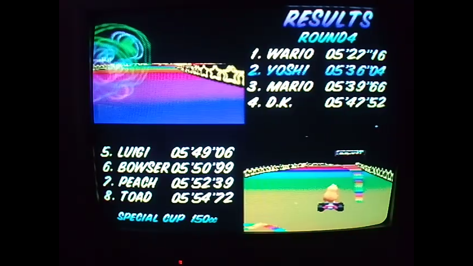 omargeddon: Mario Kart 64: Rainbow Road [150cc] (N64) 0:05:36.04 points on 2020-04-26 16:49:27