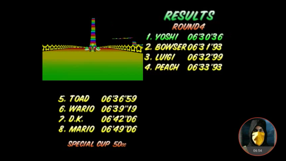 omargeddon: Mario Kart 64: Rainbow Road [50cc] (N64 Emulated) 0:06:30.36 points on 2018-02-03 00:05:42