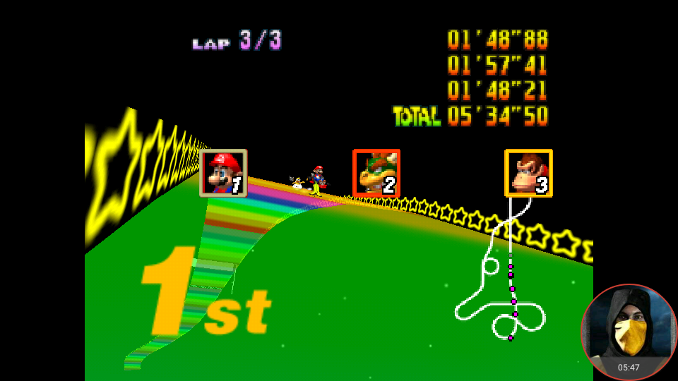 omargeddon: Mario Kart 64: Rainbow Road [Lap Time] [150cc] (N64 Emulated) 0:01:48.21 points on 2018-02-10 18:29:46