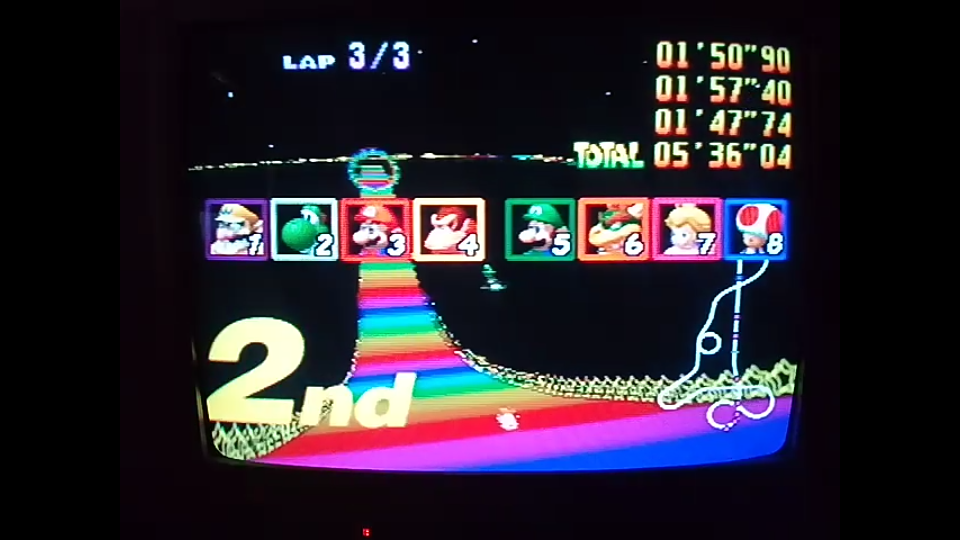 omargeddon: Mario Kart 64: Rainbow Road [Lap Time] [150cc] (N64) 0:01:47.74 points on 2020-04-26 16:50:37
