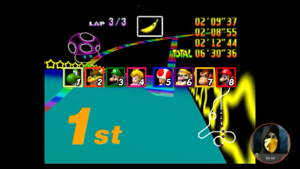 omargeddon: Mario Kart 64: Rainbow Road [Lap Time] [50cc] (N64 Emulated) 0:02:08.55 points on 2018-02-03 00:04:38